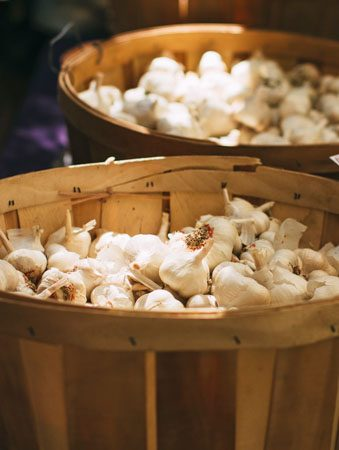 baskets of garlic from queen creek olive mill garlic fest