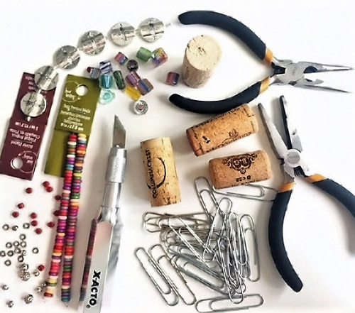Supplies for Wine Cork Place Card Holders