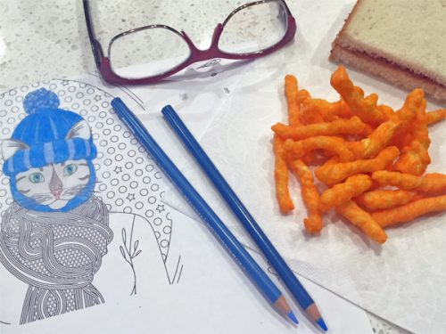 Shrinky Dink Coloring and Lunch