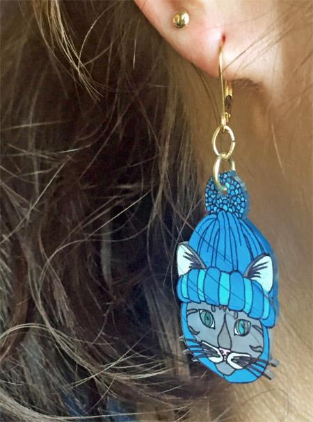 Shrinky Dink Kitty Earrings